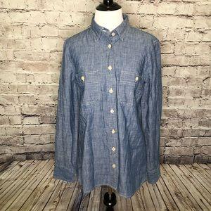 J Crew Blue Selvedge Chambray Button Shirt Size 8